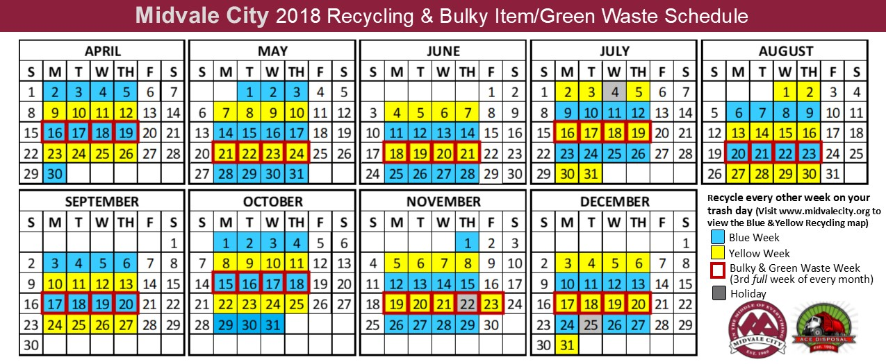 Bulky Green Recycle Calendar 2018