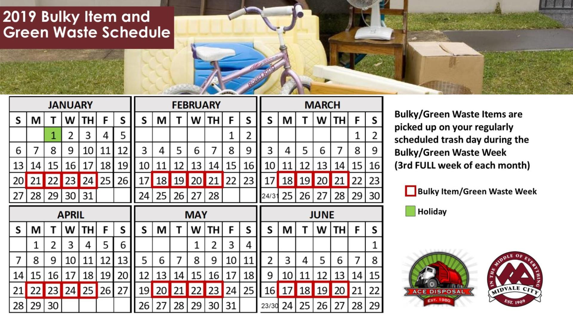 Calendar for Bulky and Green Waste