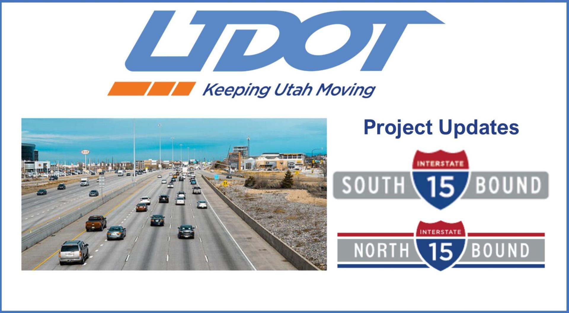 Photo of I 15 freeway and logos