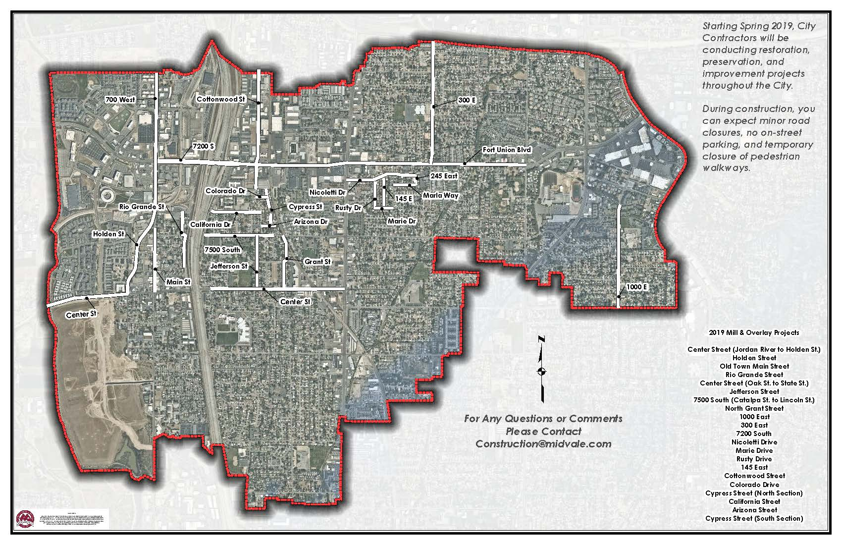 Map of Midvale City listing 2019 Mill & Overlay Projects