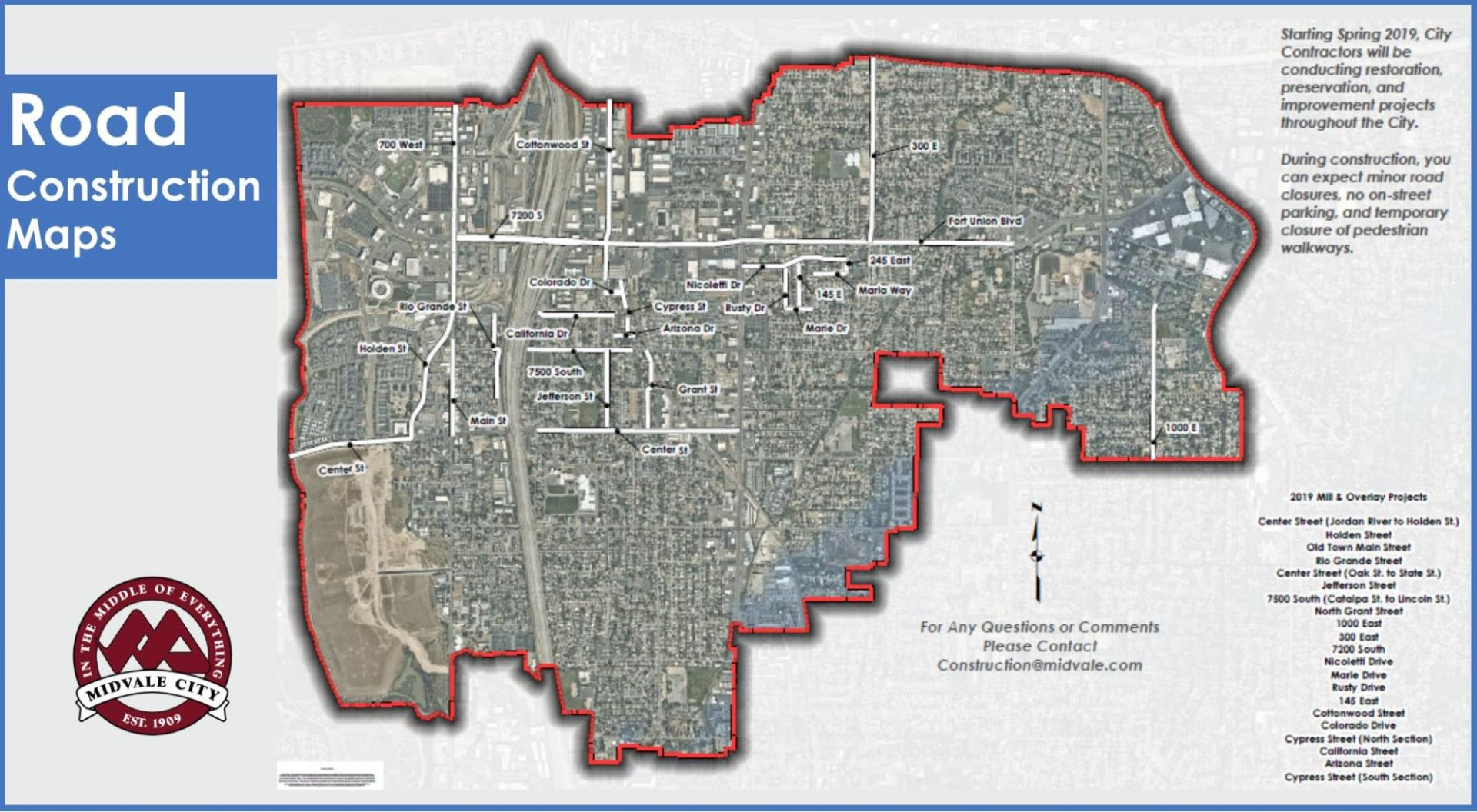 Midvale City Map listing road construction plans