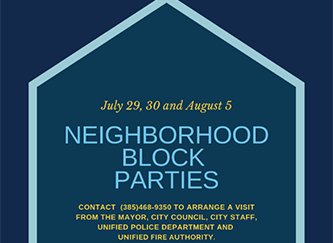 Image of a house shape with Neighborhood Block Party information inside the shape