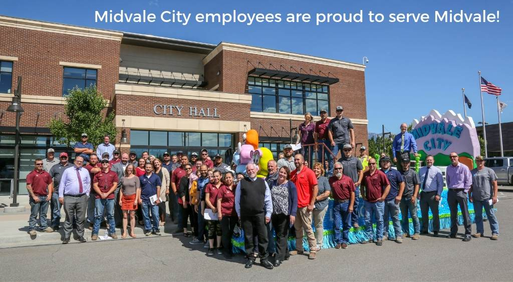 Midvale City employees standing in front of City Hall