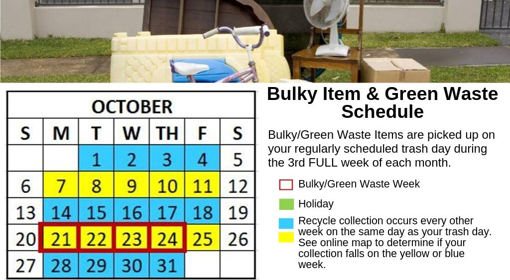 October 2019 Bulky Waste calendar