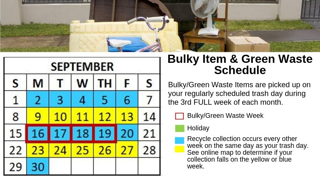 September 2019 Bulky Waste Calendar