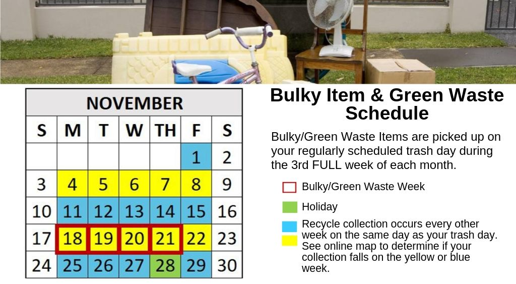 November 2019 Calendar listing bulky waste and recycle dates