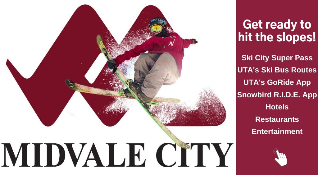 Midvale Ski Banner with picture of skier and Midvales M logo. Click to take you to ski and snowbird info