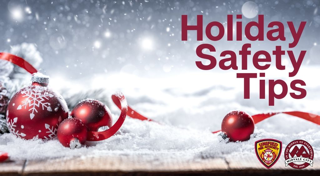 Snow ribbon and ornaments with words Holiday Safety Tips