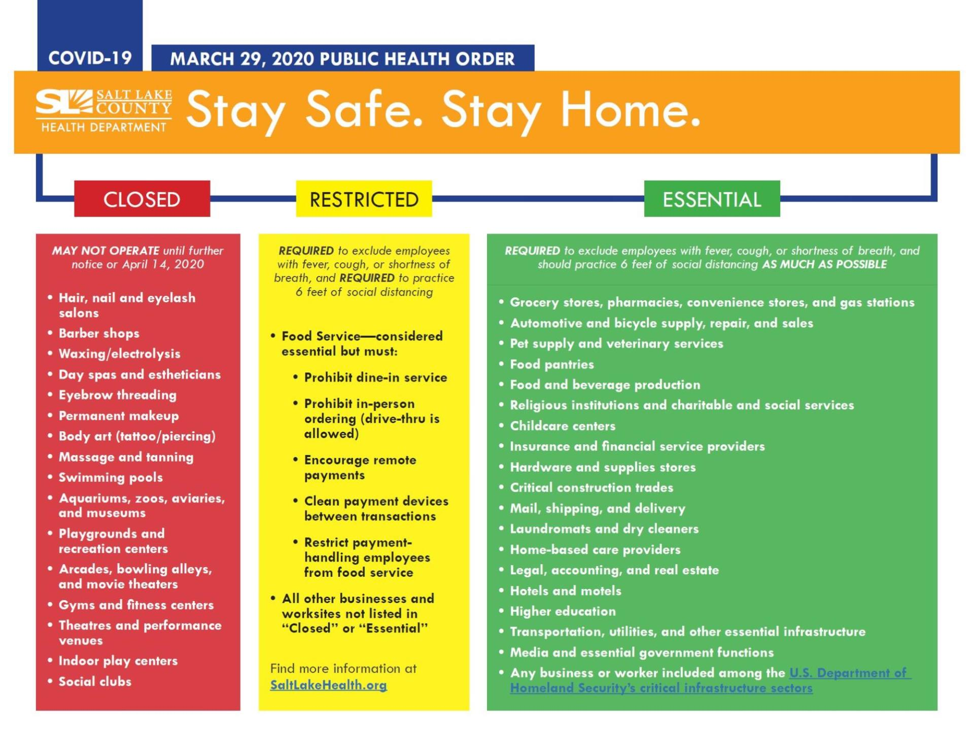 Slco Issues Public Health Order Salt Lake County Stay Safe Stay Home News Midvale Ut