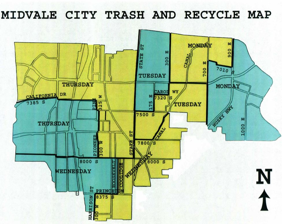 Blue Yellow Recycling Map Midvale Ut